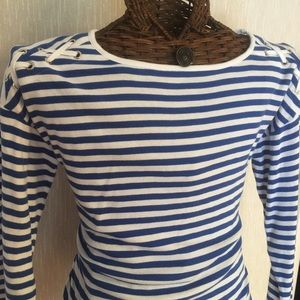 Jones New York Blue Stripes Long-sleeved Top
